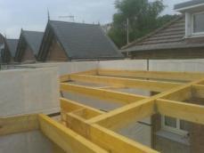 Chaprente toit plat agrandissement maison