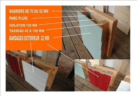 Descriptif des murs de chalet bois massif auto construction for Isolation maison exterieur bardage bois