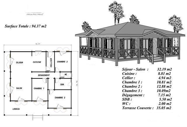 Plan maison bois mod le pin sylvestre avec terrasse coursive for Plan maison en bois gratuit