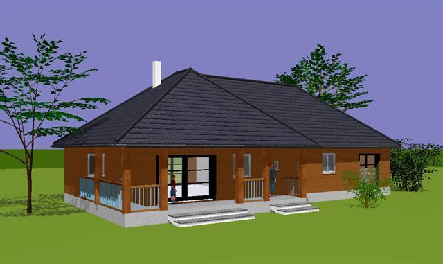 plan d 39 une grande habitation en l mod le velda. Black Bedroom Furniture Sets. Home Design Ideas