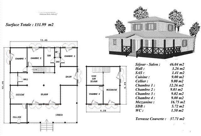 Plan maison bois mod le erable avec tage d cal au centre for Plan de maison a etage gratuit
