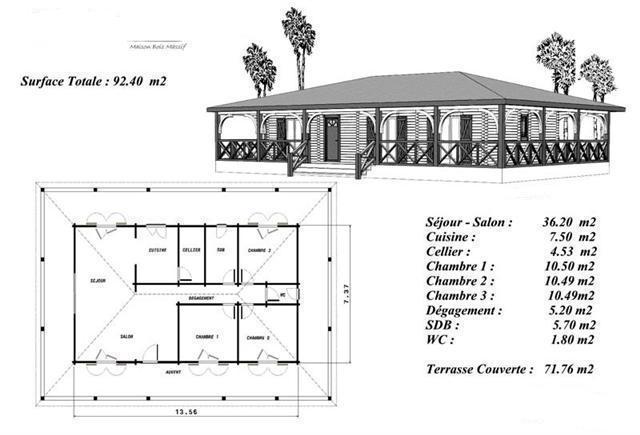 Plan maison bois mod le sapin terrasse couverte a balustres for Plan interieur maison en bois