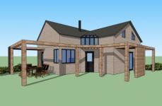 Plan 3d maison ossature bois contruite a Saint-leger-en-Yvelines