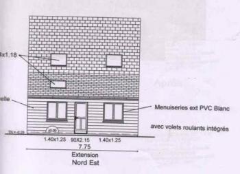 plan agrandissement d 39 un pavillon r alis en ossature bois. Black Bedroom Furniture Sets. Home Design Ideas
