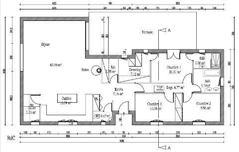Plan habitation mod le evreux construction de plain pied for Plan maison d habitation