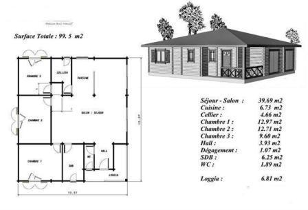 Plan maison bois mod le acajou plain pied petite terrasse for Plan maison en bois gratuit