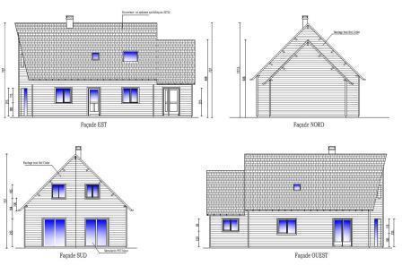 Construction de maison fabriqu e en ossature bois evreux for Maison avec pignon en facade
