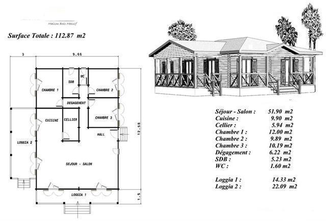 Plan maison bois mod le h tre plain pied 3 chambres loggia for Plan de maison en bois plein pied gratuit