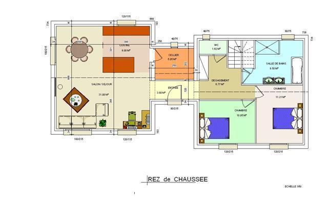 Mod le dreux plan de maison gratuit for Maison en u plan