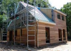 Pose bardage sur maison ossature bois 1