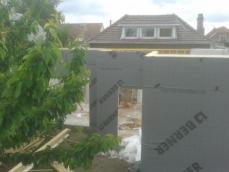 Pose ossature bois extension maison 1