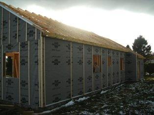 Fabrication en atelier et montage chantier d 39 ossature bois for Pare pluie bardage bois