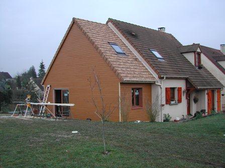Construction d 39 un agrandissement bois en seine maritime for Agrandissement maison ossature bois kit