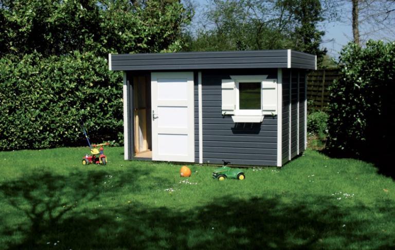 Abri de jardin bois toit plat bardage de couleurs