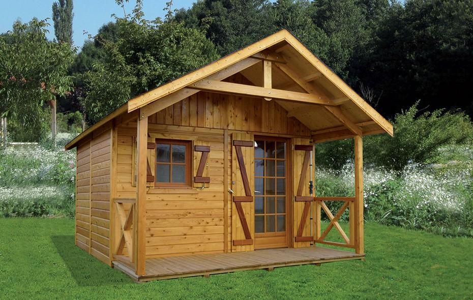 Abri de jardin en bois avec avanc auvent for Petit chalet de jardin
