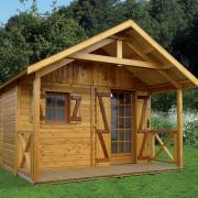 Abri de jardin en bois avec avancé auvent