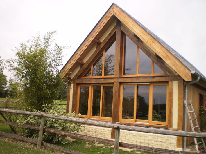 extension de maison construit en poteaux-poutres