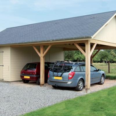 Garage bois avec charreterie en ossature bois
