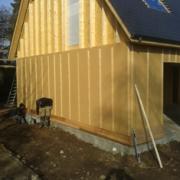 Pose d'une isolation extérieure sur maison en bois