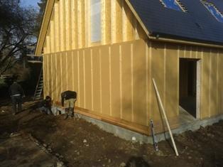 Pose d'une isolation extérieure sur ossature bois
