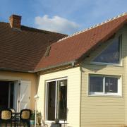 Maison agrandit en ossature bois avec bardage de couleurs