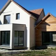 Maison en bois bardage et crepis sur isolation exterieure