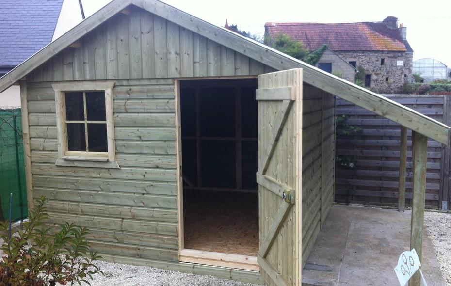 abris de jardin construits en ossature bois. Black Bedroom Furniture Sets. Home Design Ideas