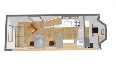 Avant projet tiny housse vue 3D aménagement intérieur
