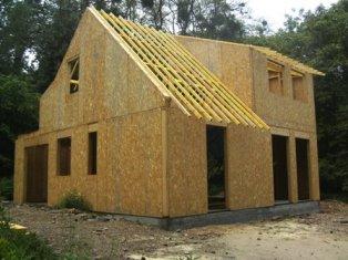 Chantier de construction d une maison bois