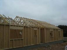 Construction vue ensemble de la construction en ossature bois 1