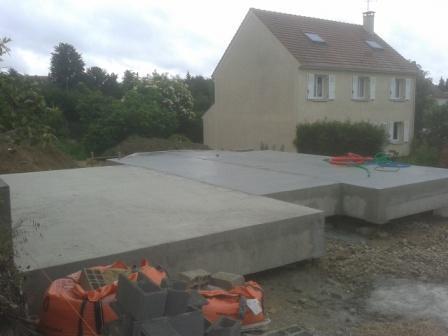 Construction dans les yvelines d 39 une maison en ossature bois - Dalle beton pour maison ...