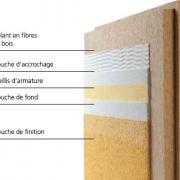 Detail des differentes etapes de pose enduit sur panneau en fibre de bois