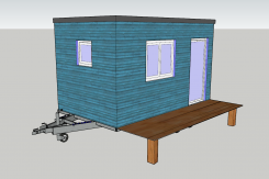 Extension de maison transportable plan en 3D couleurs bleu et blanc