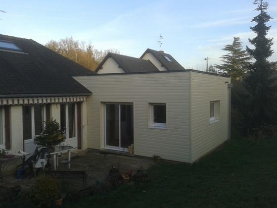Travaux d 39 extension d 39 un pavillon evreux en ossature bois for Agrandissement maison en bois tarif