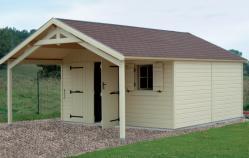 Garage bois avec avancée fabrique en ossature bois