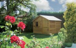 Joli abri de jardin en bois naturel