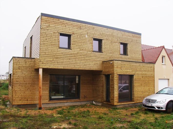 Maisons toit plat en ossature bois for Maison toit plat en l