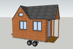 Mini maison en bois construite sur roues dite tiny house