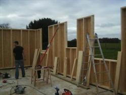 Montage des murs maison en ossature bois