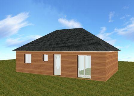Pavillon de plain pied en bois avec 3 chambres for Agrandissement maison ossature metallique