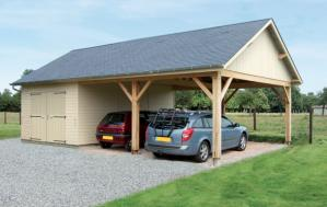 Photo carport contre garage fabrique en ossature bois