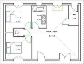 Plan maçonnerie plain pied 2 chambres