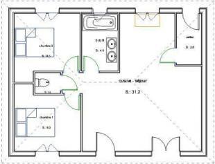 Plan bois plain pied 2 chambres