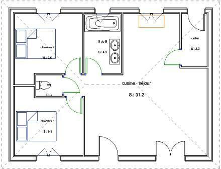 ... Plan Bois Plain Pied 2 Chambres