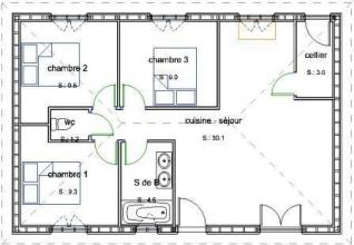 Plan maconnerie plain pied 3 chambres
