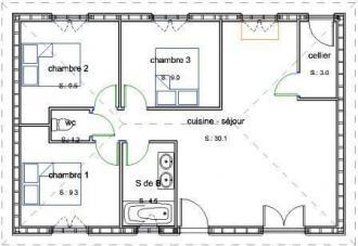 Plan bois plain pied 3 chambres