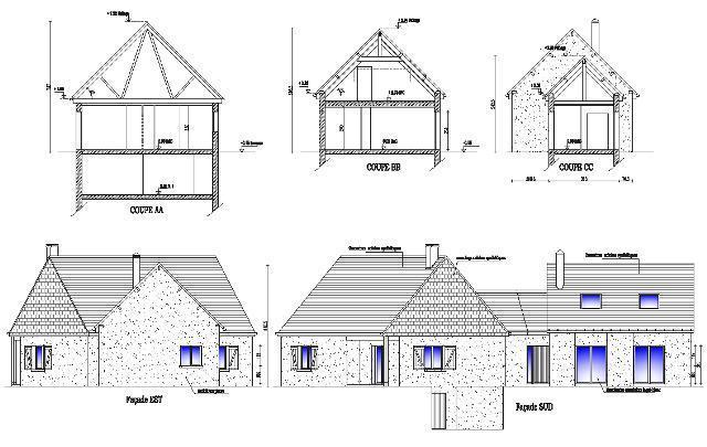 Plan rouen agrandissement d 39 habitation - Plan de coupe maison ...