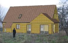 Plan de maison en ossature bois vue en 3d