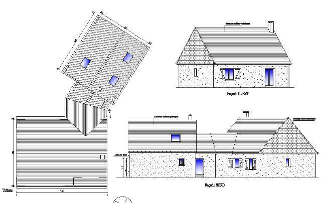 Fabulous plan des facades et toitures plan de coupe with plant de maison