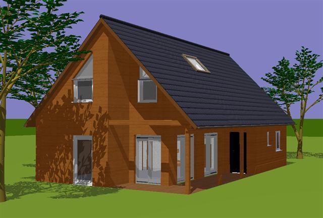 Plan agatha maison ossature bois avec porche d 39 entr e couvert for Plan habitation